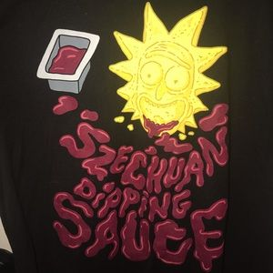 Ripple Junction Shirts - Rick & Morty Szechuan dippin sauce black large T